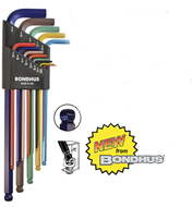 Bondhus Ball End L-Wrenches ColorGuard Finish, 9 Pieces, 1.5mm - 10mm - 69699