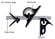 Asimeto 4 Piece Combination Square Set w/ E/M Ruler - 7490208