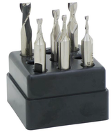 """Precise 6 Piece 1/8""""-3/8"""" Shank HSS 2 or 4 Flute Double End Mill Sets"""