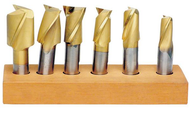 """Precise 6 Piece 3/4"""" Shank 2 or Multi-Flute TiN Coated HSS Single End Mill Set"""