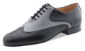 Black and Gray leather oxford with 5 lace design.