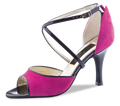 From Werner Kern Epoca line a tango or latin dance shoe.In a magenta and black patent leather.