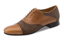 Brown leather and canvas smooth dance shoe.