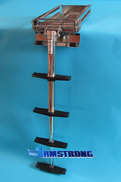 Telescopic center pole ladder - 4 steps 48 inch length Slide-out model w/ angled door