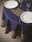 Provence Galon Coated Cotton Round Tablecloths - Blue
