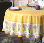 Provence Lavande Coated Cotton Round Tablecloths - Yellow