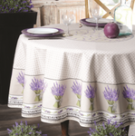 Provence Lavande Coated Cotton Round Tablecloths - Natural