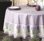 Provence Lavande Coated Cotton Round Tablecloths - Lavender