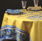 Provence Haveli Coated Cotton Round Tablecloths - Yellow