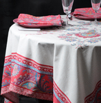 Provence Haveli Coated Cotton Round Tablecloths - Raspberry