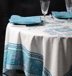 Provence Haveli Coated Cotton Round Tablecloths - Blue