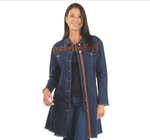 Venario Penelopez Stretch Denim Coat - Blue