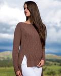 Cable Asymmetric Baby Alpaca Long Sweater