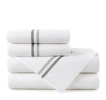 Peacock Alley Duo Striped Sateen Sheet Set - Pewter