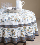 Provence Bastide Coated Cotton Round Tablecloths - Blue