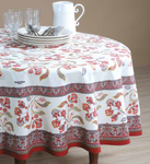 Provence Bastide Coated Cotton Round Tablecloths - Red