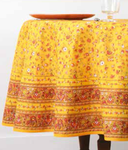 Provence Gentiane Coated Cotton Round Tablecloths - Yellow