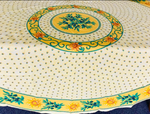 Le Cluny Provencal Coated Cotton Round Tablecloths - Sunflower yellow