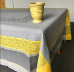 Jacquard Weave French Tablecloth - Bargeme Grey/Yellow