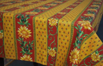 Le Cluny Provencal Coated Cotton Tablecloths - Sunflower Red