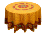Le Cluny Provencal Coated Cotton Round Tablecloths - Sunflower Red