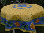 Le Cluny Provencal Coated Cotton Round Tablecloths - Sunflower Blue