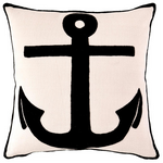 Fresh American Admiral Ivory/Black Indoor/Outdoor Pillow