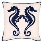 Fresh American Sea Horse Navy Indoor/Outdoor Pillow