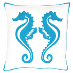 Fresh American Sea Horse Turqouise Indoor/Outdoor Pillow