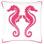 Fresh American Sea Horse Fuchsia Indoor/Outdoor Pillow