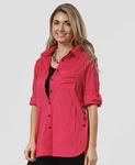 Flair Side Button Big Shirt - Fushcia