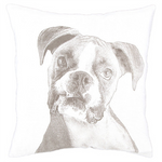 Fresh American Boxer White Decorative Pillow