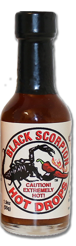 The Black Scorpion™ Drops: One of our hottest blends.  The Scorpion Pepper is still the hottest pepper.  It didn't fight for position in the Guinness Book of world Records but it is my experience it is still the hottest.  We use the Trinidad Moruga Scorpion pepper combined with the great flavor of smoked Ghost Pepper.  All made in a base of white wine. Heat seeker  tested and approved.