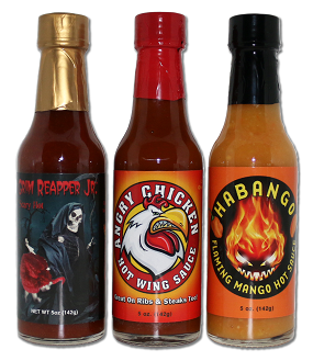 Three Unique Flavors in this special offer.  Reapper Jr., Angry Chicken and Habango Hot Sauces.  All natural and very flavorful