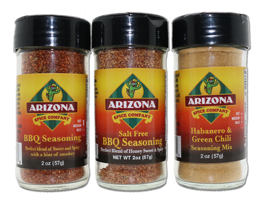 A great trio of flavor.  Our Spicy BBQ, Salt Free BBQ and our Spicy Habanero Green Chile Seasonings.  All natural with no fillers, no MSG and lots of flavor.  The BBQ's Have honey powder as the sweet instead of sugar.  Concentrated sweet and spicy.