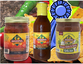 One each of our most recent award winners.  One Peach Perfect Salsa, One Sweet 16 BBQ Sauce, and one Green Chile and Garlic Salsa.  They are all mild to medium in heat level.