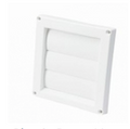 White Plastic Dryer or Bathroom Fan Exhaust Cover  - Louvered - 4 Inch (LWDV 4)