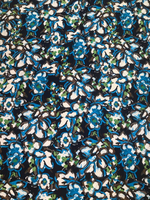 Navy/Ocean Blue/Bright Olive Painted Floral Viscose Challis