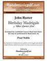 Birthday Madrigals 5. When daisies pied
