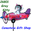 "26801 Kitty (Gray) 19"""" ,  Pilot Pal airplane spinner (26801)"