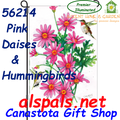 56214  Pink Dasies & Hummingbirds : Garden Flag by Premier Illuminated (56214)
