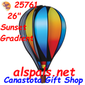 "25761  Sunset Gradient 26"" Hot Air Balloons (25761) Wind Spinner. This 26"" Sunset Gradient Hot Air Balloon is a vibrant display of colors. It certainly puts you in a happy state of mind as it rotates in a breeze. By the favorite of most females."