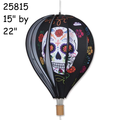 "25815  Day of the Dead (Black) : 22"" Hot Air Balloons (25815)"