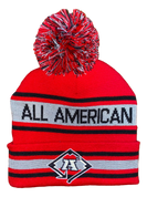 A3 Pom Beanie - Red/Grey