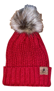 A3 Women's Pom Knit Beanie - Cranberry