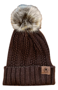 A3 Women's Pom Knit Beanie - Chocolate