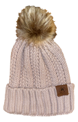 A3 Women's Pom Knit Beanie - Tan