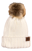 A3 Women's Pom Knit Beanie - White