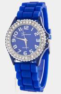 Royal Blue Geneva Silicone Rubber Rhinestone Bling  Watch
