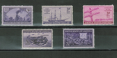United States 1944 Commemorative Year Set, Scott Cat. Nos.  0922 - 0926, MNH